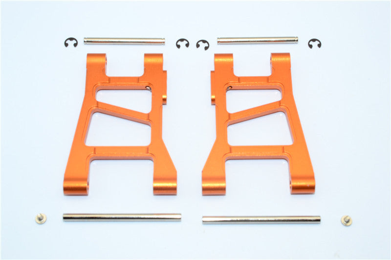 Tamiya DF-02 Aluminum Front Lower Arm With Pins & 2.5mm E-Clips & Delrin Collars & Screws - 1Pr Set Orange