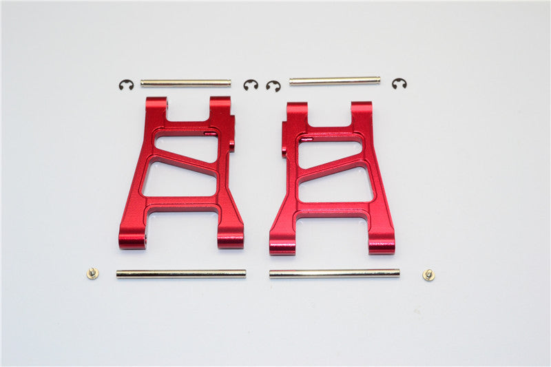 Tamiya DF-02 Aluminum Front Lower Arm With Pins & 2.5mm E-Clips & Delrin Collars & Screws - 1Pr Set Red