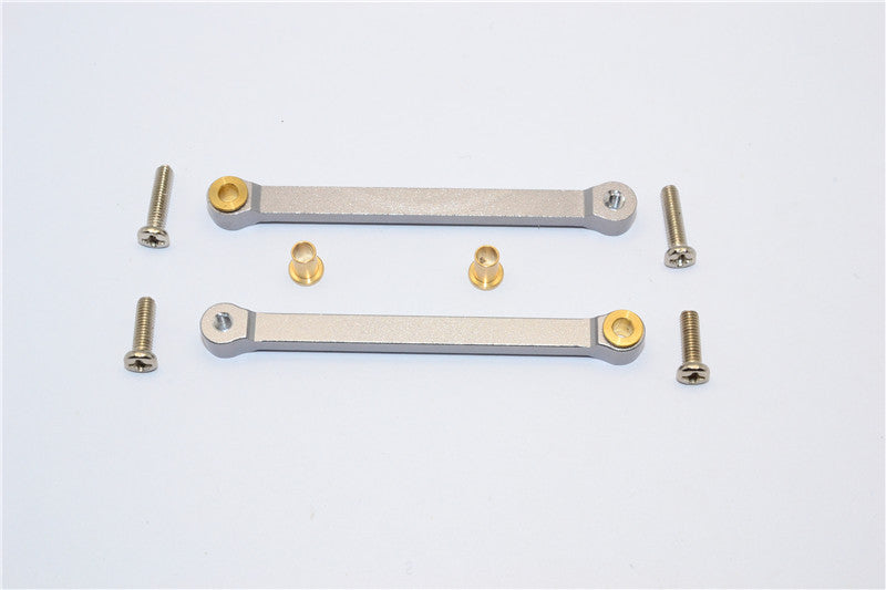 Tamiya DF-02 Aluminum Rear Upper Arm (Tie Rod Design) With Bronze Collars - 1Pr Set Gray Silver