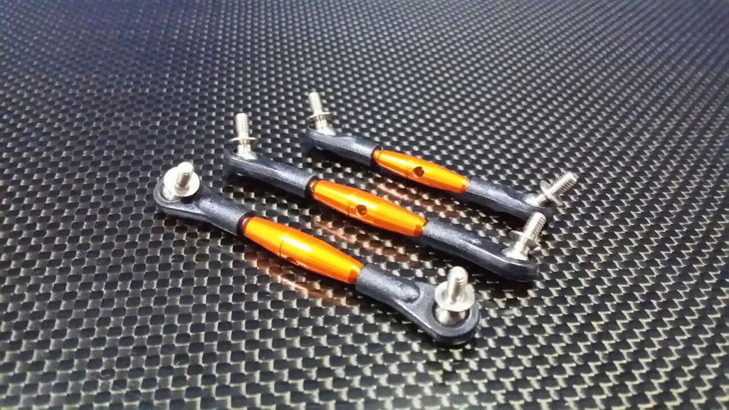 Tamiya DF-02 Aluminum Completed Tie Rod With 5.8mm Balls - 3 Pcs Set Orange