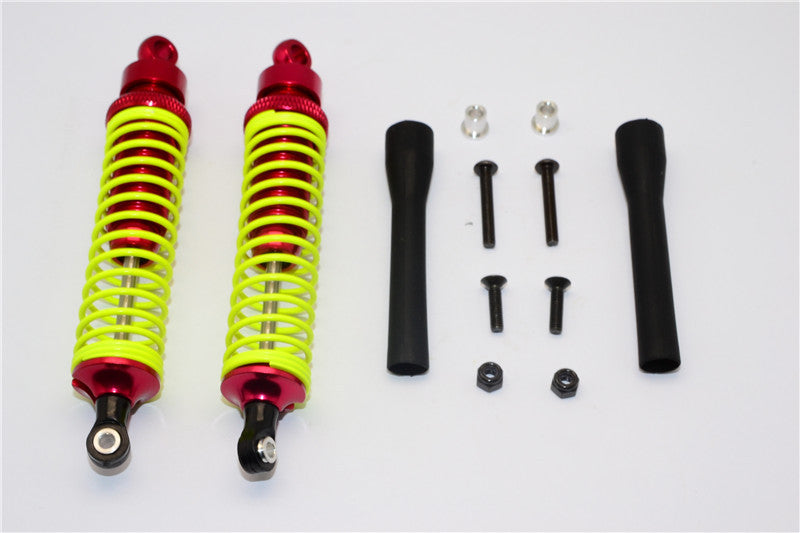 Tamiya DF-02 Aluminum Rear Adjustable Spring Damper (100mm) With Aluminum Collars & Screws & Plastic Black Dust-Proof - 1Pr Set Red