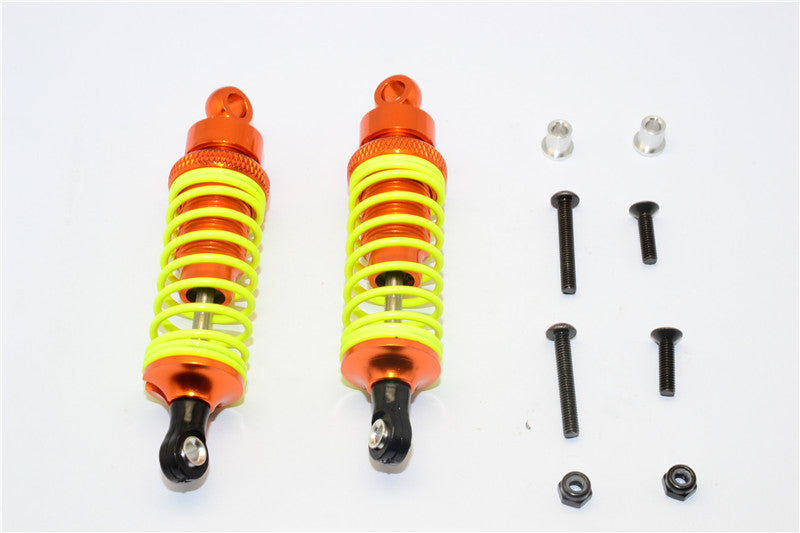 Tamiya DF-02 Aluminum Front Adjustable Spring Damper (75mm) With Aluminum Collars & Screws - 1Pr Set Orange