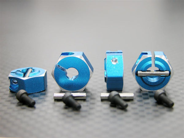 Tamiya DF-03 Aluminum Drive Adaptor With Pins & Screws - 4Pcs Set Blue