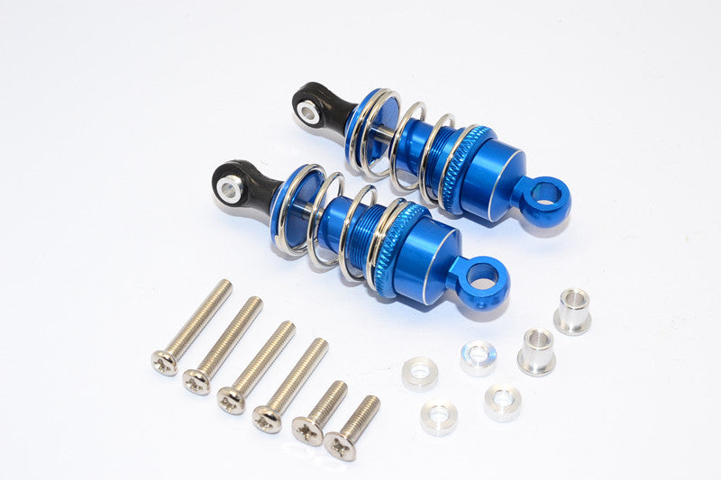 1/10 Touring - Aluminum Ball Top Damper (50mm) With Aluminum Collars & Washers & Screws - 1Pr Set Blue - JTeamhobbies
