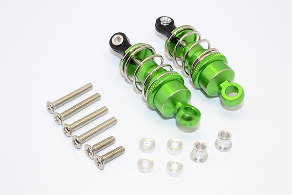 1/10 Touring - Aluminum Ball Top Damper (50mm) With Aluminum Collars & Washers & Screws - 1Pr Set Green - JTeamhobbies