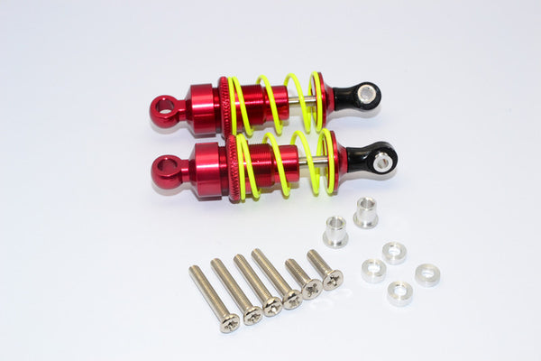 1/10 Touring - Aluminum Ball Top Damper (55mm) With Aluminum Collars & Washers & Screws - 1Pr Set Red - JTeamhobbies
