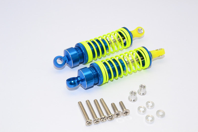 1/10 Touring - Aluminum Ball Top Damper (75mm) With Aluminum Collars & Washers & Screws - 1Pr Set Blue - JTeamhobbies