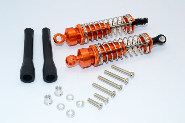 1/10 Touring - Aluminum Ball Top Damper (80mm) With Aluminum Collars & Washers & Screws Dust-Proof Black Plastic Cover - 1Pr Set Orange - JTeamhobbies