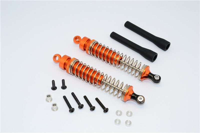 1/10 Touring - Aluminum Ball Top Damper (100mm) With Aluminum Collars & Washers & Screws & Dust-Proof Black Plastic Cover - 1Pr Set Orange - JTeamhobbies