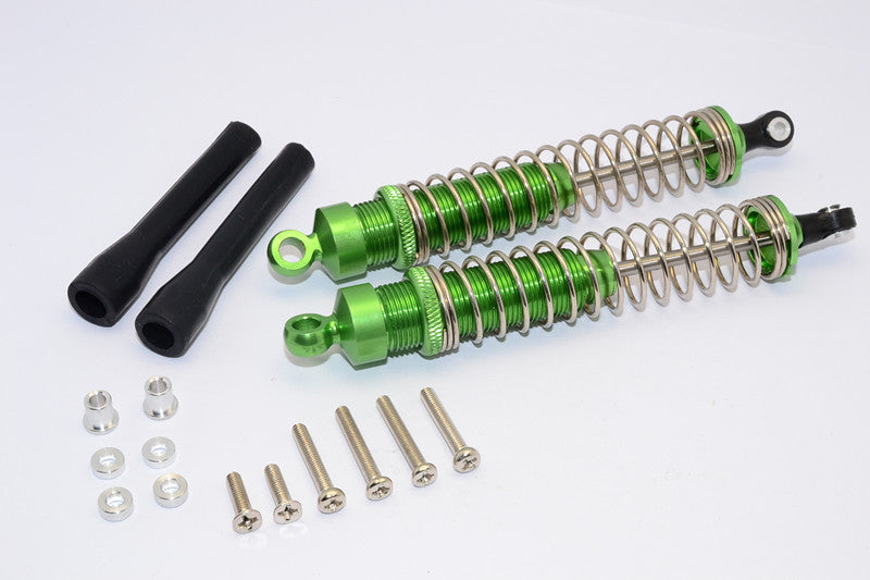1/10 Touring - Aluminum Ball Top Damper (110mm) With Aluminum Collars & Washers & Screws & Dust-Proof Black Plastic Cover - 1Pr Set Green - JTeamhobbies