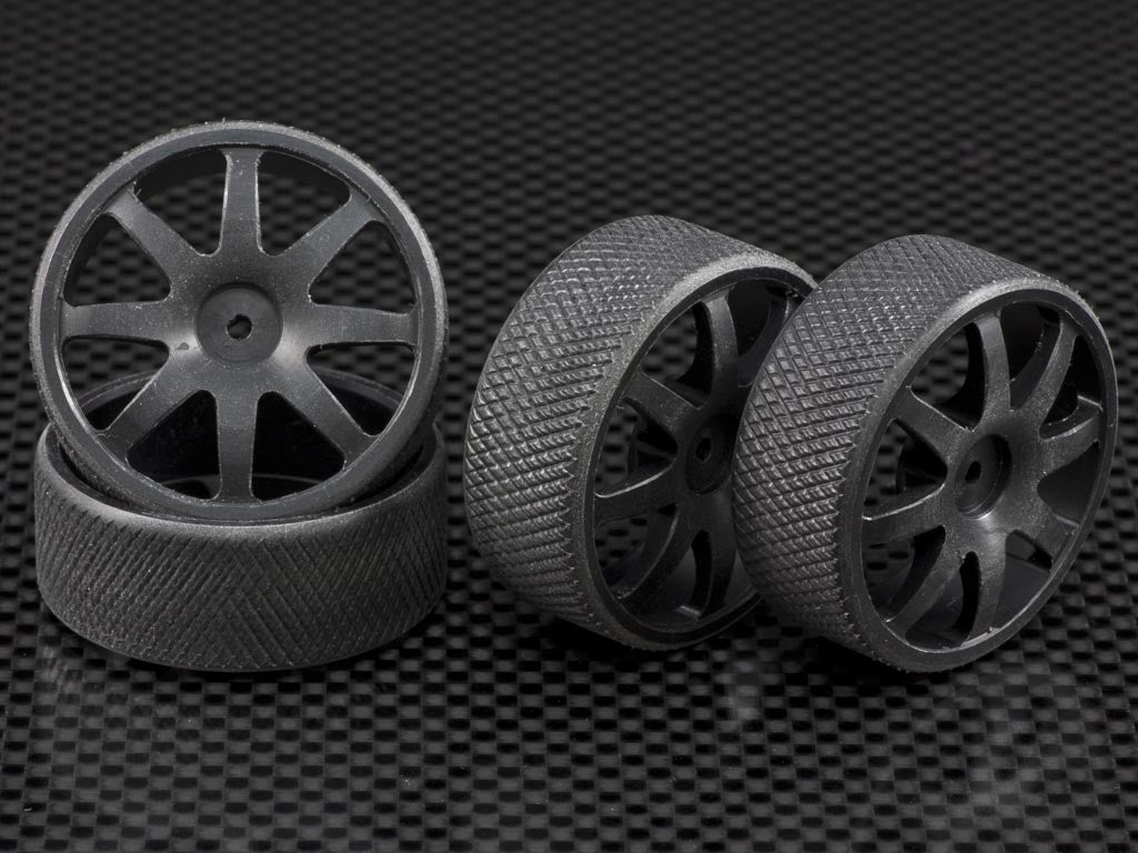 Team Losi 1/24 Micro SCT & Micro Rally Car Delrin Front + Rear Drift Rims (8 Poles) - 4 Pcs Set Black