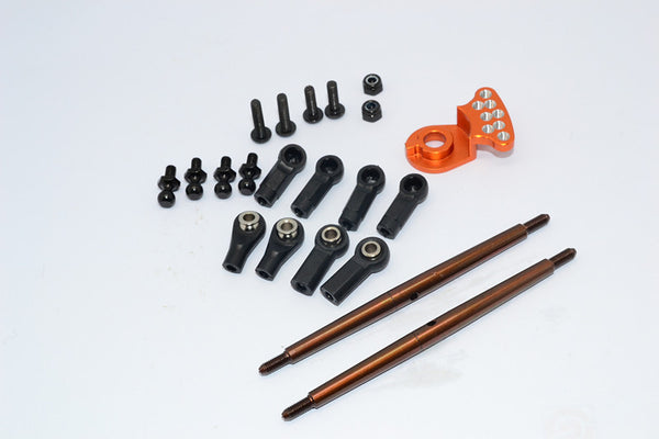 Tamiya DT-03 Spring Steel Modified Anti-Thread Steering Tie Rod With Servo Saver (P3) - 1 Set Orange