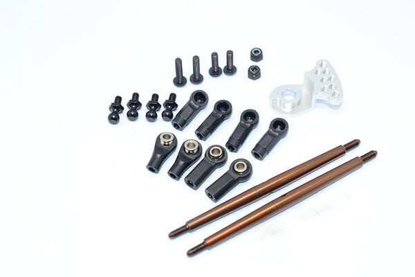 Tamiya DT-03 Spring Steel Modified Anti-Thread Steering Tie Rod With Servo Saver (P3) - 1 Set Silver