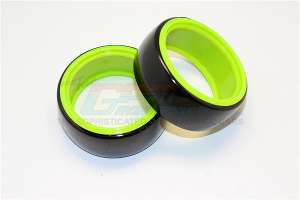 Delrin Drift Tires Of 26mm Width - 1Pr Set Black+Green