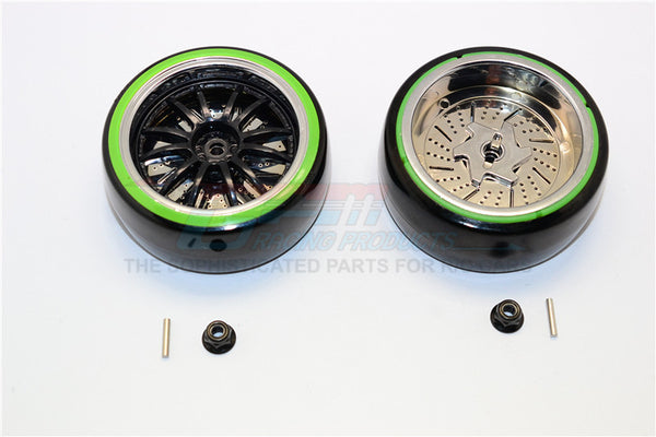 Delrin Drift Tires Of 26mm Width Mount With 6 Spokes Plastic Wheels - 1Pr Set Black+Green