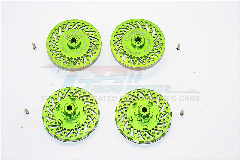 Traxxas E-Revo Brushless Edition Aluminum Wheel Hex Claw +2mm With Brake Disk - 4Pcs Set Green