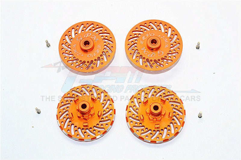 Traxxas E-Revo Brushless Edition Aluminum Wheel Hex Claw +2mm With Brake Disk - 4Pcs Set Orange