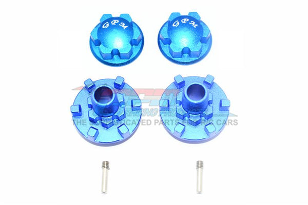 Traxxas E-Revo 2.0 VXL Brushless (86086-4) Aluminum Wheel Hex Claw + Wheel Lock - 4Pc Set Blue