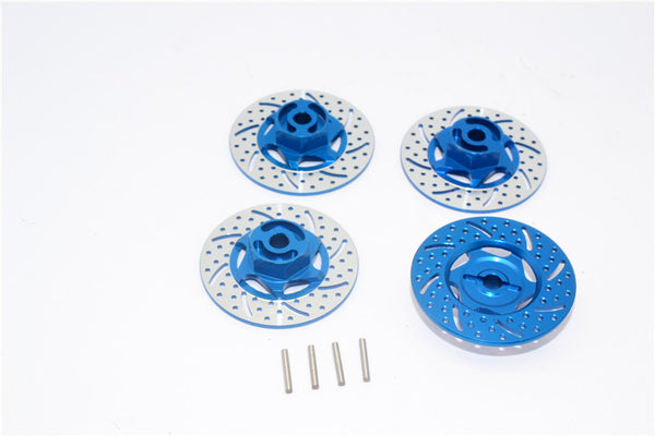 Traxxas 1/16 Mini E-Revo Aluminum Brake Disk Hex Adaptors - 4 Pcs Set Blue