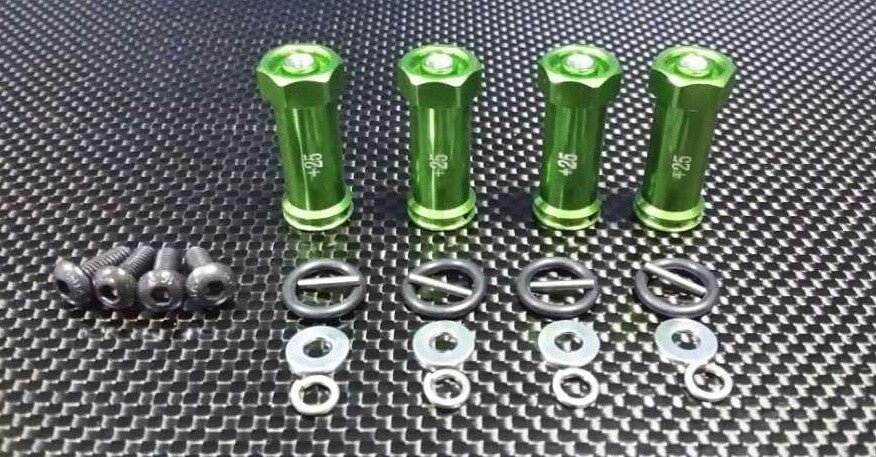 Traxxas 1/16 Mini E-Revo, Mini Slash, Mini Summit Aluminum Hex Adaptor (+25mm) - 4 Pcs Set Green