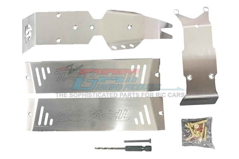 Traxxas E-Revo VXL Brushless (86086-4) Stainless Steel Skid Plates For Front, Center, Rear Chassis - 24Pc Set