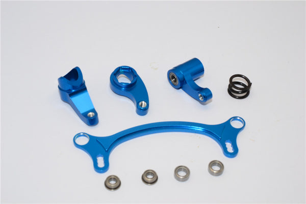 Axial EXO Aluminum Steering Assembly - 4Pcs Set Blue