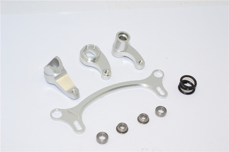 Axial EXO Aluminum Steering Assembly - 4Pcs Set Sandy Sliver