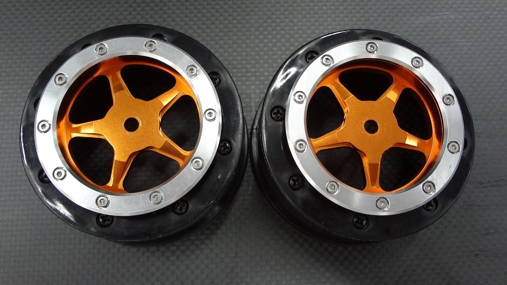 Axial EXO & SCX10 Nylon Front Rims Frame With Aluminum 5 Star Beadlock Rims - 1Pr Set Orange