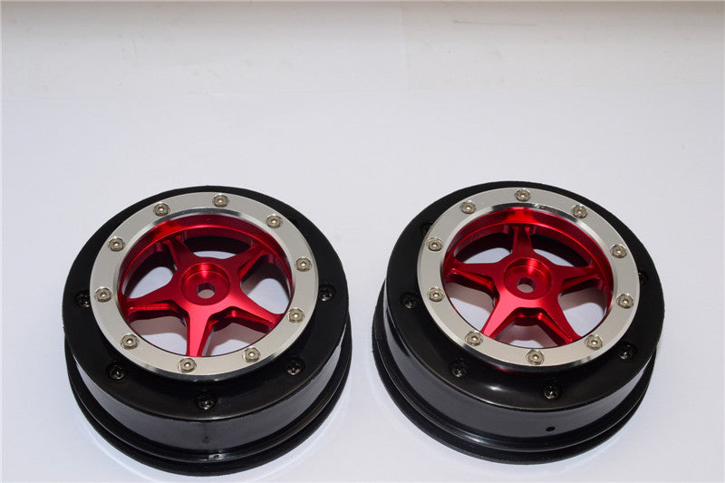 Axial EXO & SCX10 Nylon Front Rims Frame With Aluminum 5 Star Beadlock Rims - 1Pr Set Red