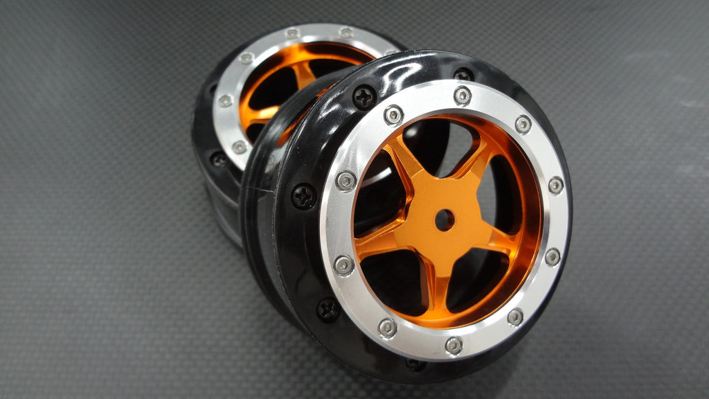 Axial EXO & SCX10 Nylon Rear Rims Frame With Aluminum 5 Star Beadlock Rims - 1Pr Set Orange