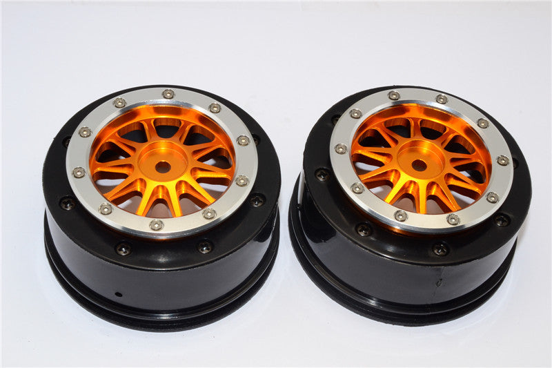 Axial EXO & SCX10 Nylon Rear Rims Frame With Aluminum 10 Poles Beadlock Rims - 1Pr Set Orange+Silver