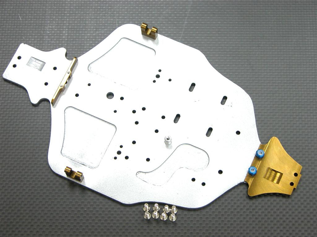 Kyosho Mini Inferno Fibre Main Chassis With Aluminum Mounts & Screws - 1 Set Silver
