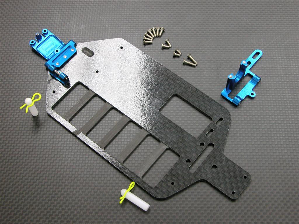Team Associated RC18T Graphite Main Chassis With Screws & E-Clips - 1Pc Set Economy Version Blue