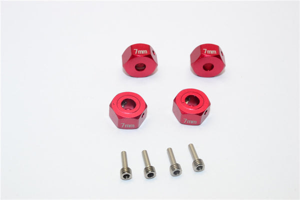 Gmade Crawler R1 Rock Buggy & GS01 Sawback Aluminum Hex Adapter (12mmx7mm) - 4Pcs Set Red