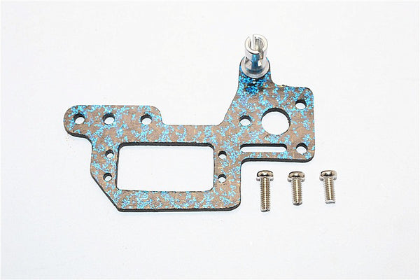 Kyosho Mini Inferno Graphite Servo Mount Cover With Screws (Blue Graphite) - 1Pc Set Silver