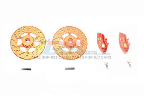 Traxxas Ford GT 4-Tec 2.0 (83056-4) Aluminum Front Or Rear Brake Disk + Brake Caliper - 4Pc Set Orange