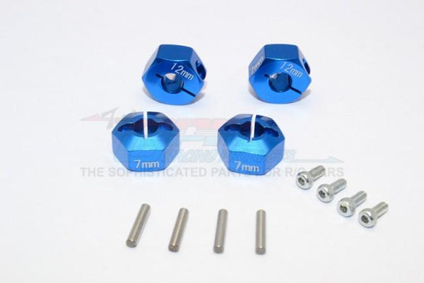 Traxxas Ford GT 4-Tec 2.0 (83056-4) Aluminum Hex Adapters 7mm Thick - 4Pc Set Blue