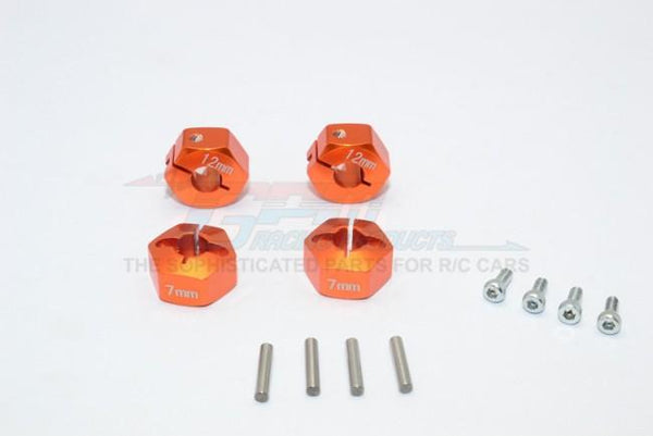 Traxxas Ford GT 4-Tec 2.0 (83056-4) Aluminum Hex Adapters 7mm Thick - 4Pc Set Orange