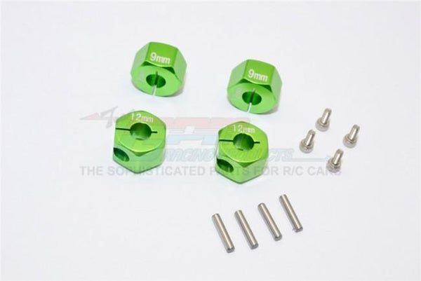 Traxxas Ford GT 4-Tec 2.0 (83056-4) Aluminum Hex Adapters 9mm Thick - 4Pc Set Green