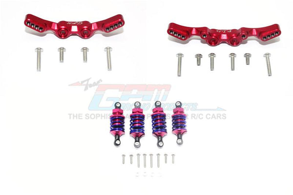 Traxxas Ford GT 4-Tec 2.0 (83056-4) Aluminum Front & Rear Shock Towers + Front (53mm) + Rear (50mm) Oil Filled Dampers - 28Pc Set Red