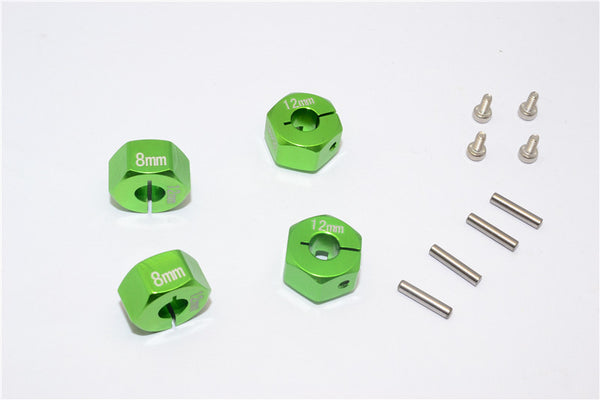 Aluminum Wheel Hex Adapter 12mmx8mm - 4Pcs Set Green