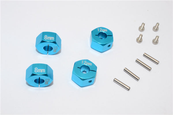 Aluminum Wheel Hex Adapter 12mmx8mm - 4Pcs Set Sky Blue