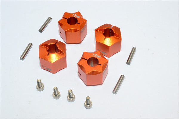 Aluminum Wheel Hex Adapter 12mmx11mm - 4Pcs Set Orange