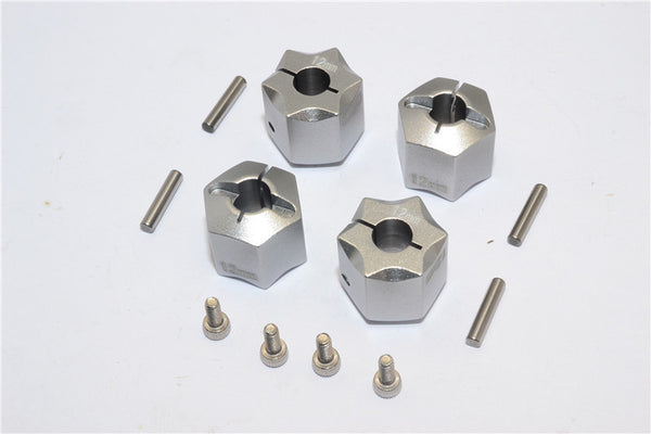 Aluminum Wheel Hex Adapter 12mmx12mm - 4Pcs Set Gray Silver