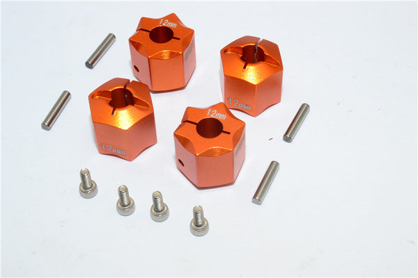 Aluminum Wheel Hex Adapter 12mmx12mm - 4Pcs Set Orange