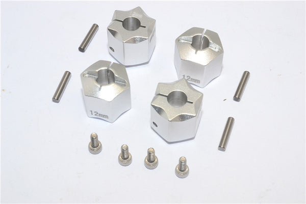 Aluminum Wheel Hex Adapter 12mmx12mm - 4Pcs Set Silver