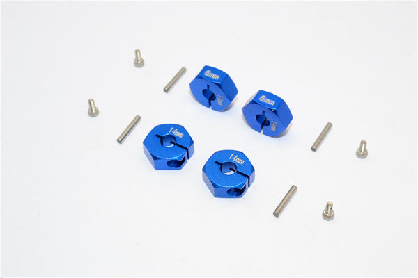 Aluminum Wheel Hex Adapter 14mmx6mm - 4Pcs Set Blue