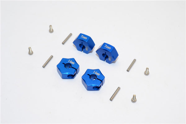 Aluminum Wheel Hex Adapter 14mmx7mm - 4Pcs Set Blue