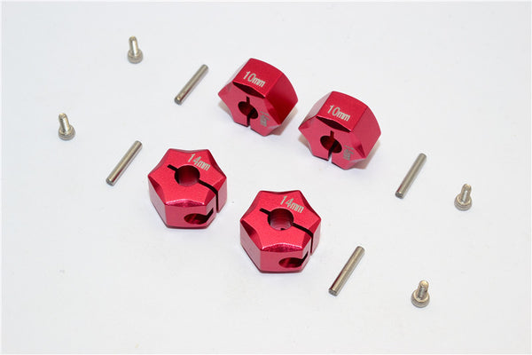 Aluminum Wheel Hex Adapter 14mmx10mm - 4Pcs Set Red