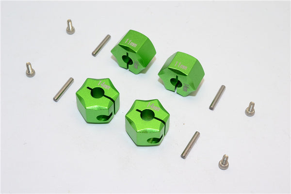 Aluminum Wheel Hex Adapter 14mmx11mm - 4Pcs Set Green